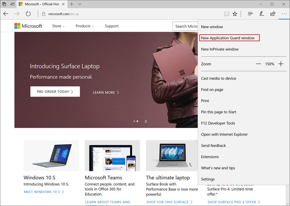 Microsoft Edge Windows Defender Application Guard 2