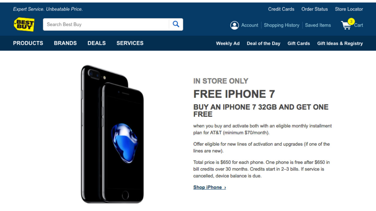 Iphone 7 Buy One Get One Free Bogo 2017 Offer From At T At Best Buy In Store Only 1reddrop