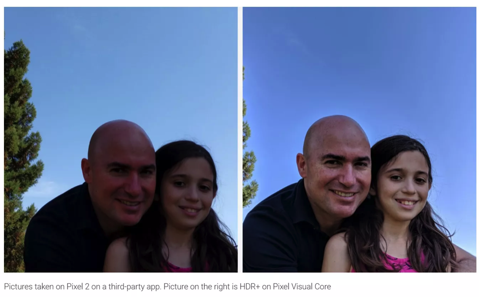 Pixel Visual Core - effect shown in comparison with plain photo taken on Android