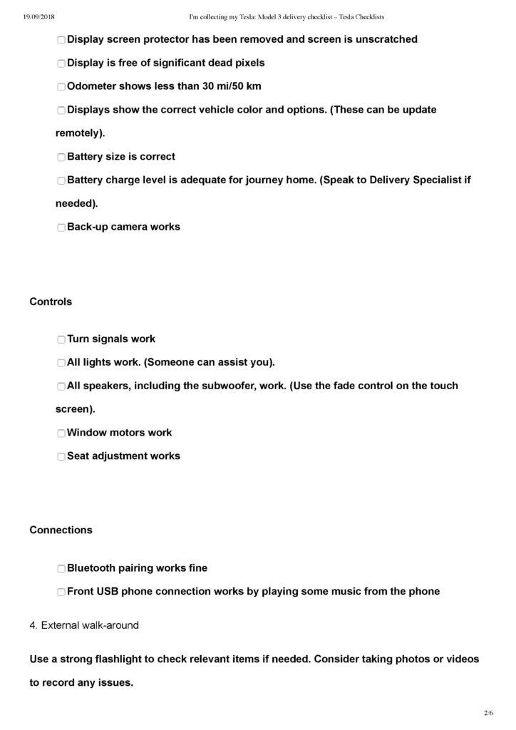 Printable Tesla Model 3 Delivery Checklist, and Video Checklist