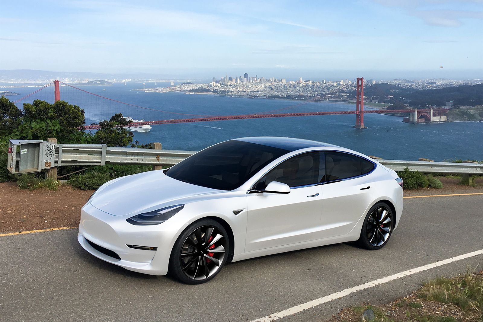 Tesla Model 3 S New Nemesis Multi Coat Red And Pearl White Paint