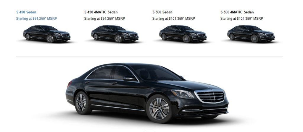 Mercedes S Class Pricing by Models in the United States