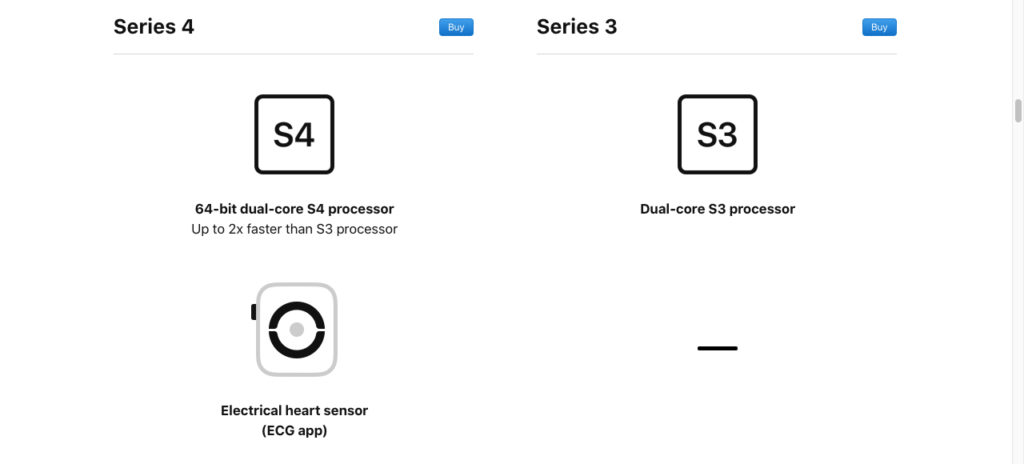 Apple Watch Series 4 - 64-bit S4 chip vs S3 chip on Series 3 Apple Watch