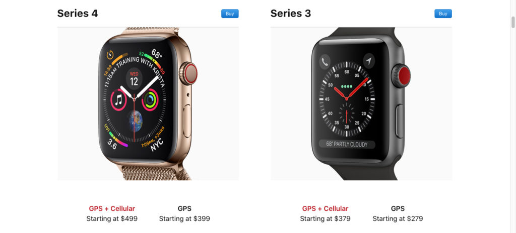 Apple Watch Series 4 price comparison with Apple Watch Series 3