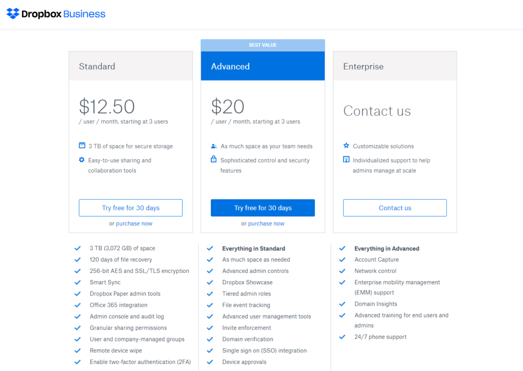 Dropbox Business Plans: Feature Comparison