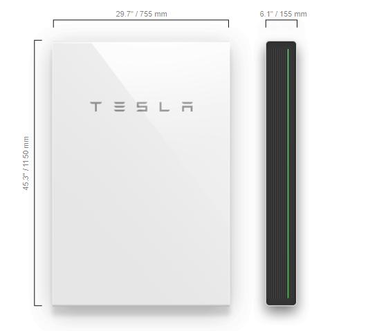 Tesla Powerwall: Dimensions