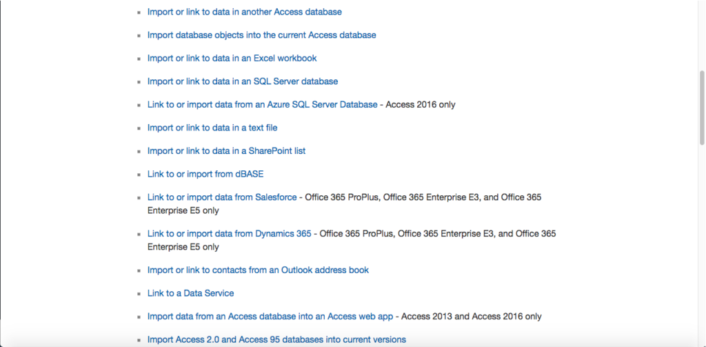 Resources that Microsoft Access can import from or link to.
