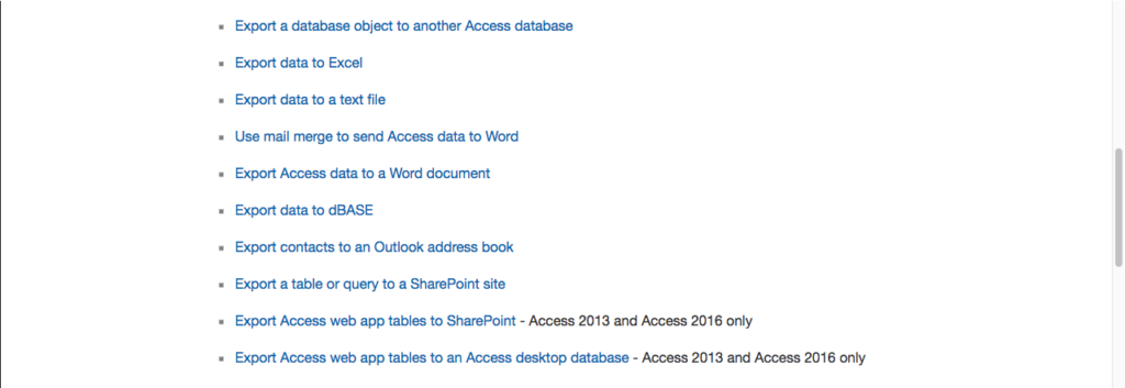 Resources that Microsoft Access can export to.
